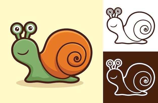 귀여운 웃는 달팽이. 플랫 스타일의 만화 그림