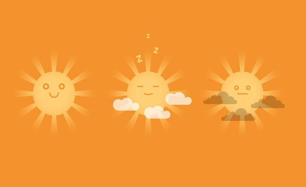 Cute smiling suns with clouds