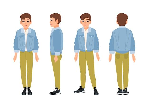 緑のジーンズとデニムのジャケットに身を包んだかわいい笑顔の10代の少年、10代または10代の若者