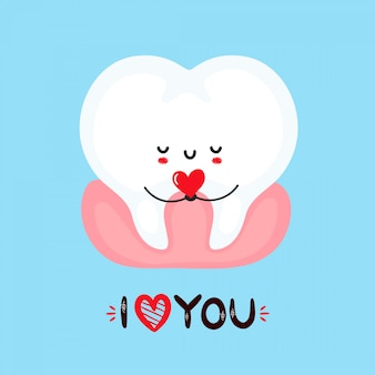 Cute smiling tooth holding heart in hands