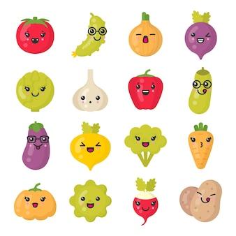 Симпатичные улыбающиеся овощи. каваи-вегетарианские персонажи. изолированный красочный набор