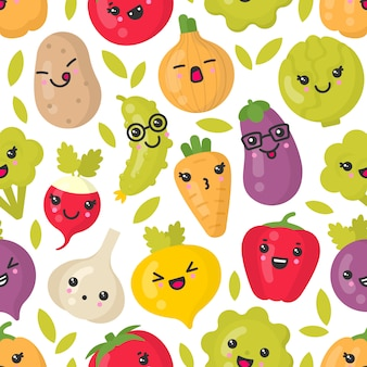 Cute smiling vegetables, seamless pattern on white