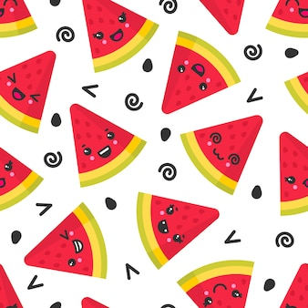 Cute smiling watermelon, seamless pattern on white background