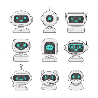 Surprised talking robot and speech bubbles  chatbot, dialog