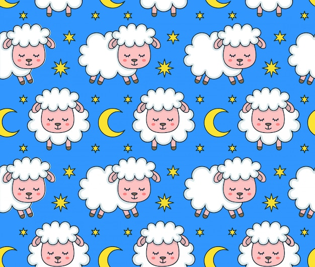 かわいいsmilng面白い眠っている羊のシームレスパターン