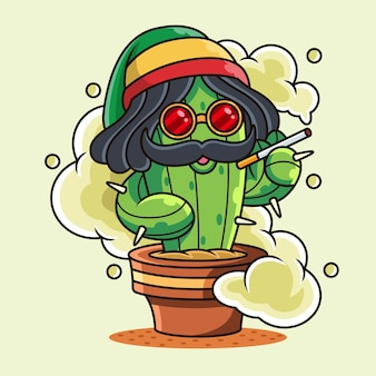 Cute smoke cactus  icon illustration. plant icon concept with funny pose