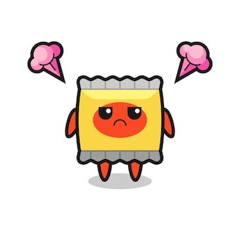 Симпатичный персонаж закуски с подозрительным выражением лица, милый стиль дизайна футболки, наклейки, элемента логотипа