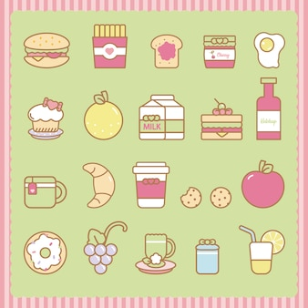 Симпатичные закуски и набор еды