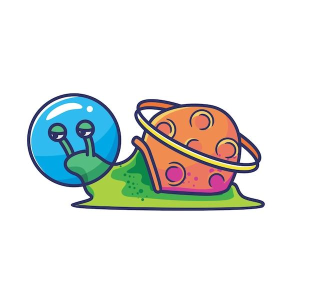 행성 껍질 토성 고리와 귀여운 달팽이 우주 비행사 외계인 헬멧. 웹 디자인 배너 문자에 적합한 동물 평면 만화 스타일 그림 아이콘 프리미엄 벡터 로고 마스코트