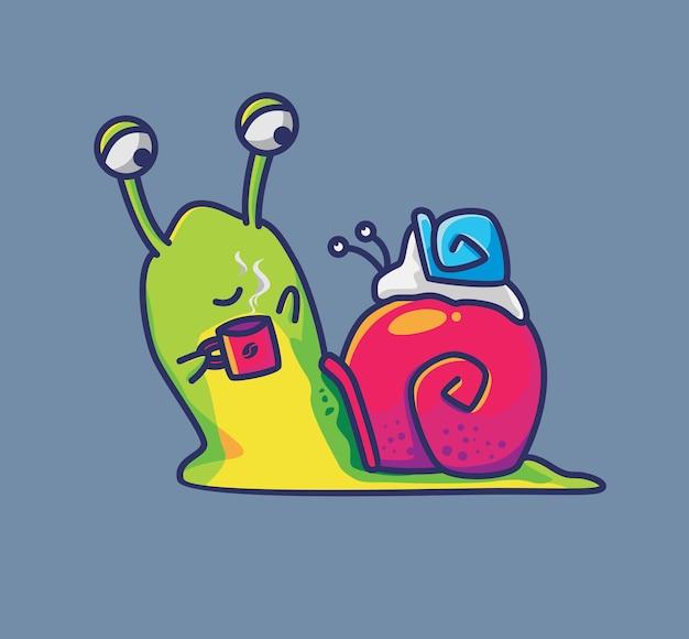 커피를 마시며 아기를 안고 있는 귀여운 달팽이. 동물 만화 격리 된 평면 스타일 스티커 웹 디자인 아이콘 그림 프리미엄 벡터 로고 마스코트 캐릭터