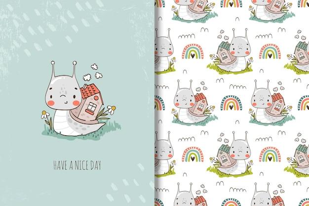 かわいいカタツムリの漫画のキャラクター子供のためのシームレスなパターン