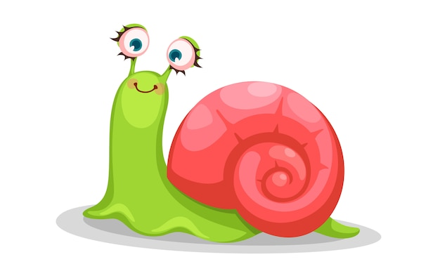 Cute snail cartoon vector illustration
