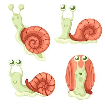 귀여운 달팽이 컬렉션. 큰 녹색 달팽이. 숲 동물. 만화 캐릭터 . 흰색 배경에 그림