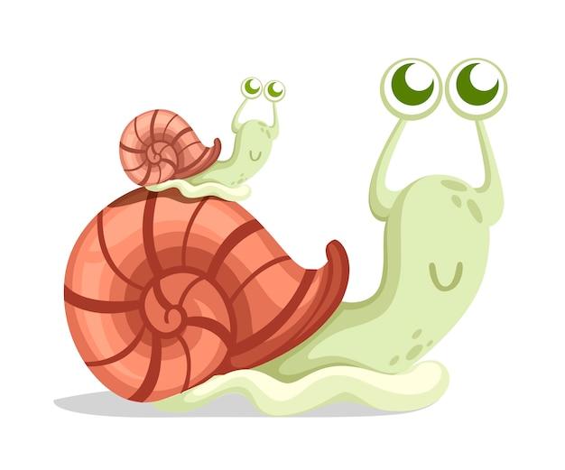 귀여운 달팽이 가족. 크고 작은 녹색 달팽이. 숲 동물. 만화 캐릭터 . 흰색 배경에 그림