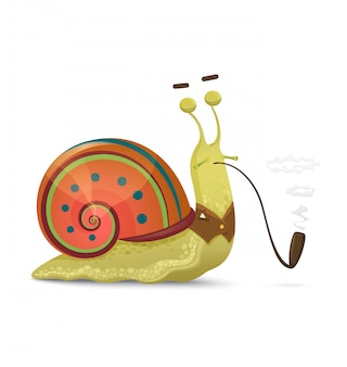 Cute snail gentleman with smoking pipe isolated