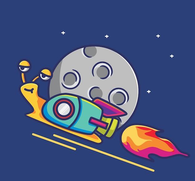 Симпатичная улитка на луну-ракету-космонавту. концепция технологии шаржа изолированная иллюстрация. плоский стиль, подходящий для дизайна значков наклеек премиум логотип вектор