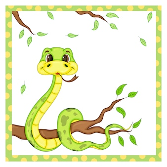 Cute snake. cartoon animal character. vector illustration.