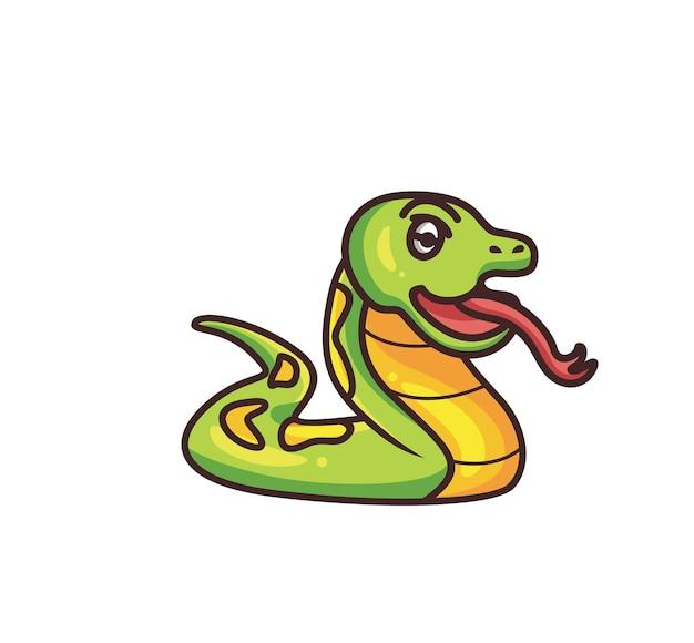 かわいいヘビが横になります。漫画の動物の性質の概念孤立したイラスト。ステッカーアイコンデザインプレミアムロゴベクトルに適したフラットスタイル。マスコットキャラクター