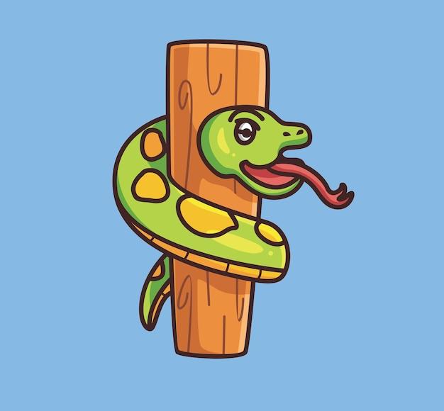나무 줄기 나무에 귀여운 뱀입니다. 만화 동물 자연 개념 격리 된 그림입니다. 스티커 아이콘 디자인 프리미엄 로고 벡터에 적합한 플랫 스타일. 마스코트 캐릭터