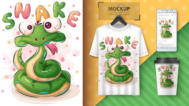 Симпатичный змеиный плакат и мерчендайзинг