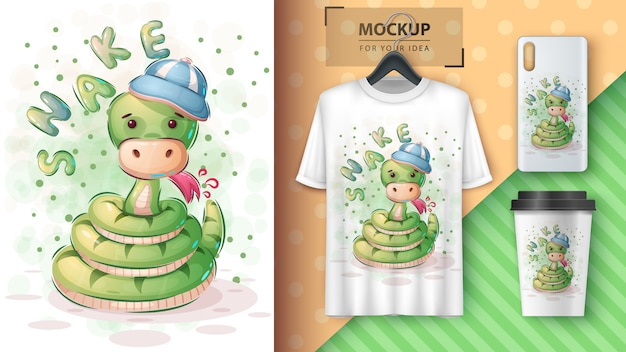 Cute snake - poster and merchandising