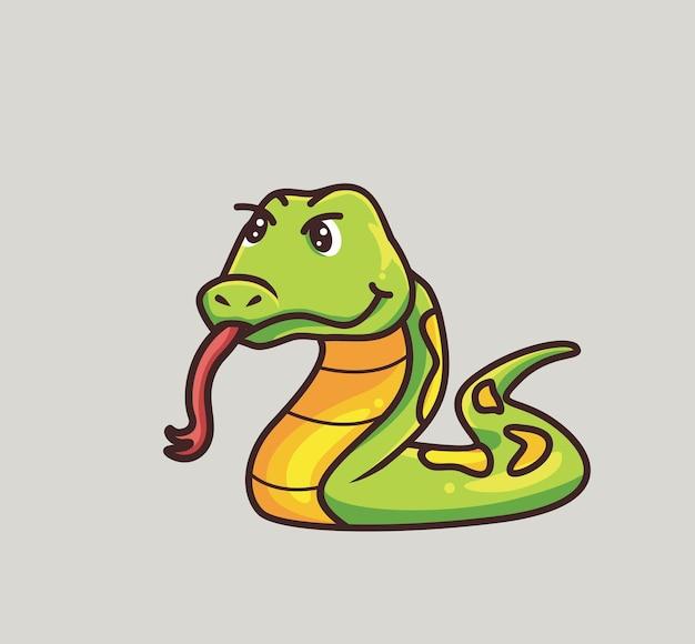 かわいいヘビの舌。漫画の動物の性質の概念孤立したイラスト。ステッカーアイコンデザインプレミアムロゴベクトルに適したフラットスタイル。マスコットキャラクター