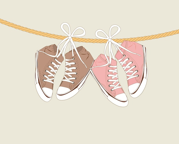 Cute sneakers hanging of a rope over beige background vector