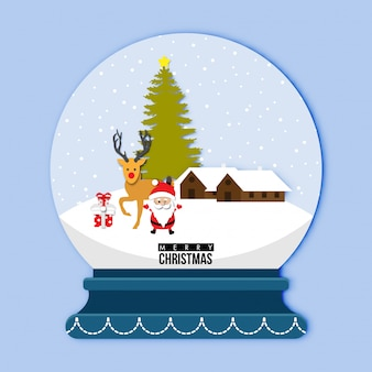 A cute snow globe with santa claus and reindeer vector