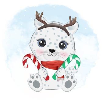Милый снежный барс и леденец рождественский сезон иллюстрация