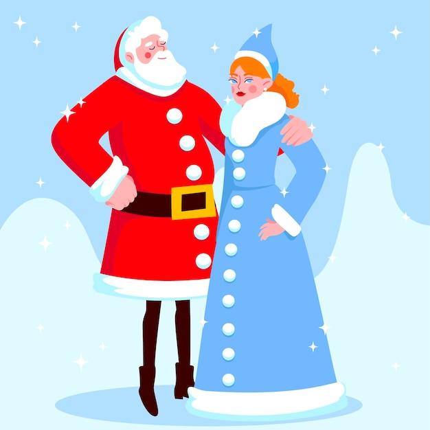 サンタクロースとかわいい雪の乙女のキャラクター