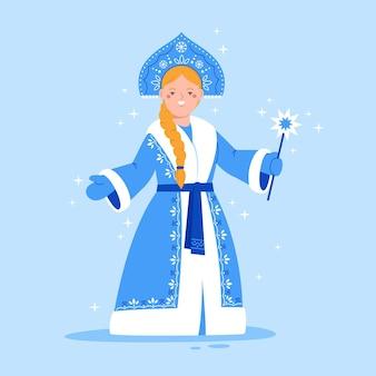 Симпатичный персонаж снегурочки