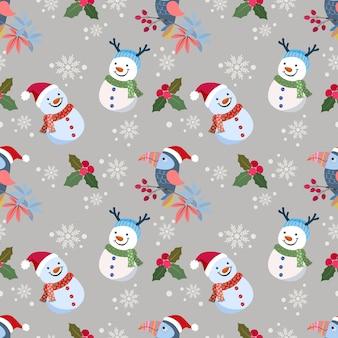 Милый снежный человек и птица со снегом поддельные бесшовные модели.