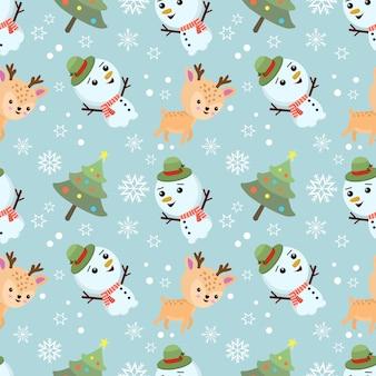 冬のシームレスなパターンでクリスマスツリーとかわいい雪だるまと鹿。