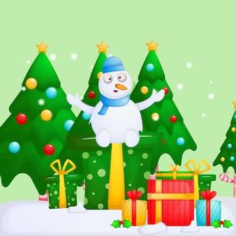 クリスマスプレゼントとかわいい雪だるま。メリークリスマス。