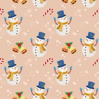 Cute snow man with christmas tree seamless pattern.