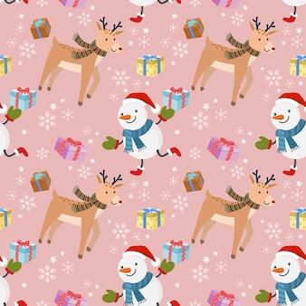 선물 및 사슴 완벽 한 패턴으로 귀여운 눈 사람.