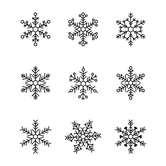 白い背景で隔離のかわいい雪片コレクション。フラットなデザインライン雪アイコン、シルエット。クリスマスバナー、カード、クリスマスデザイン、冬の天気の概念のベクトル要素を設定します。新年の飾り。