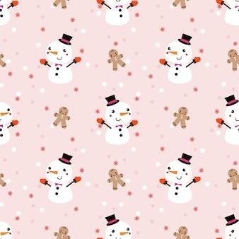 クリスマスの冬のテーマのシームレスなパターンでかわいい雪だるまとジンジャーブレッドマン