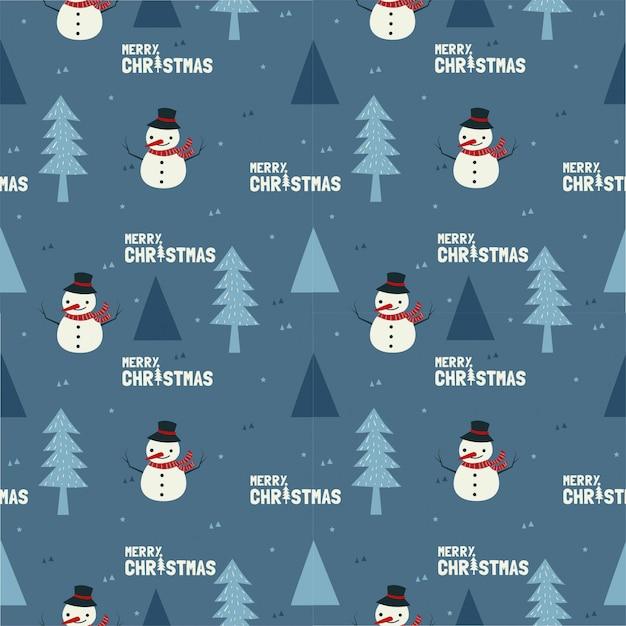 かわいい雪だるまとクリスマスのシームレスなパターンの木