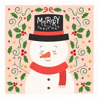 Cute snowman background for christmas