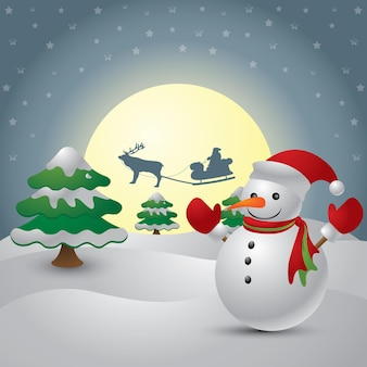 Cute snowman on the background of night sky with a bright moon and the silhouette of santa claus fly