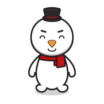 Cute snowman cartoon character wearing hat. design isolated on white background