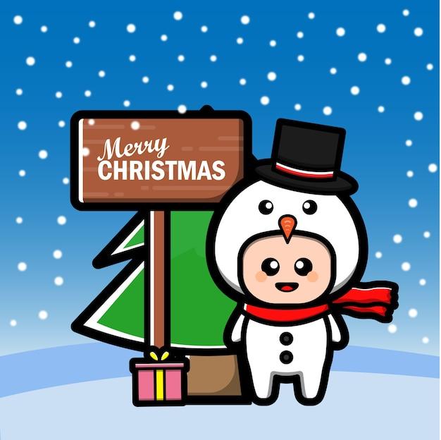 Мультфильм милый снеговик с деревом и подарком