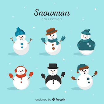 Cute snowman character collection in flat design
