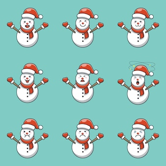 Cute snowman character design set