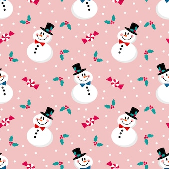 Cute snowman, Christmas berry and sweet seamless pattern.