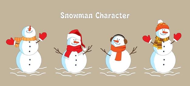 귀여운 눈사람 크리스마스 문자 컬렉션 플랫.