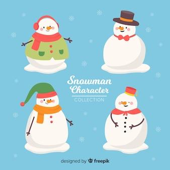 フラットデザインのかわいい雪だるまコレクション