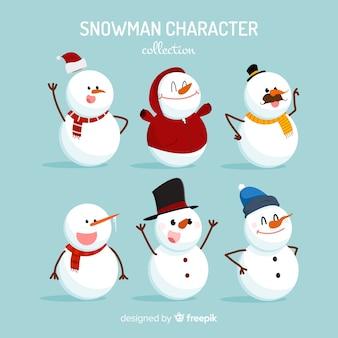 평면 디자인에 귀여운 눈사람 크리스마스 컬렉션