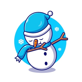 かわいい雪だるまを軽くたたく漫画アイコンイラスト。